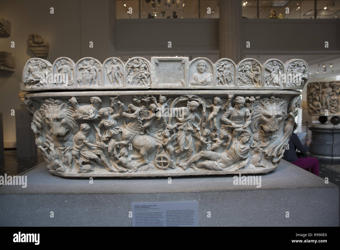 Marble sarcophogus wth the myth of Selene and Endymion carved on to it. Roman, Severan period, early 3rd century A.D. - Stock Image