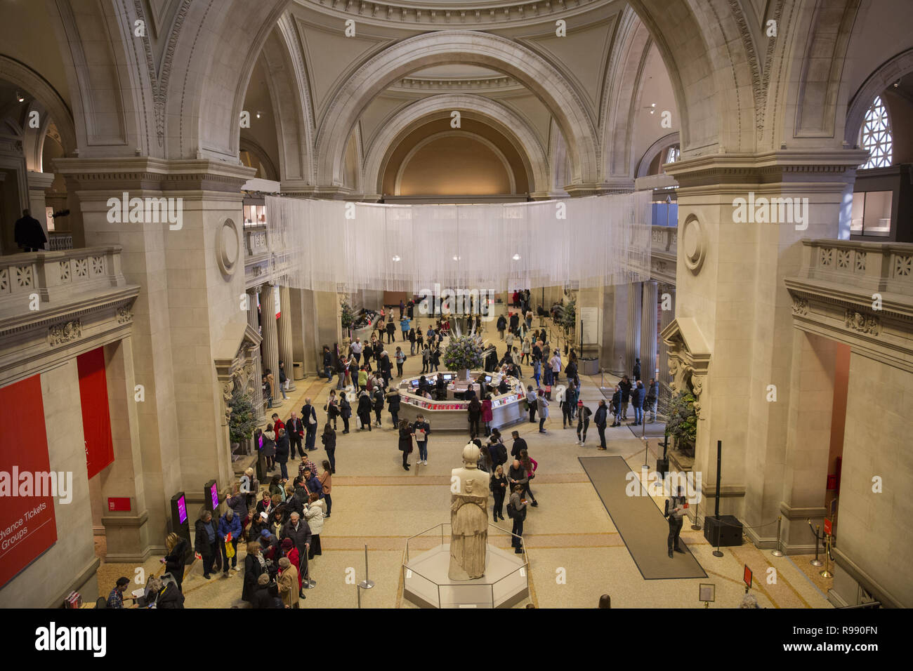 Looking across the Great Hall  entrance at the Metropolitan Museum of Art in New York City. Stock Photo