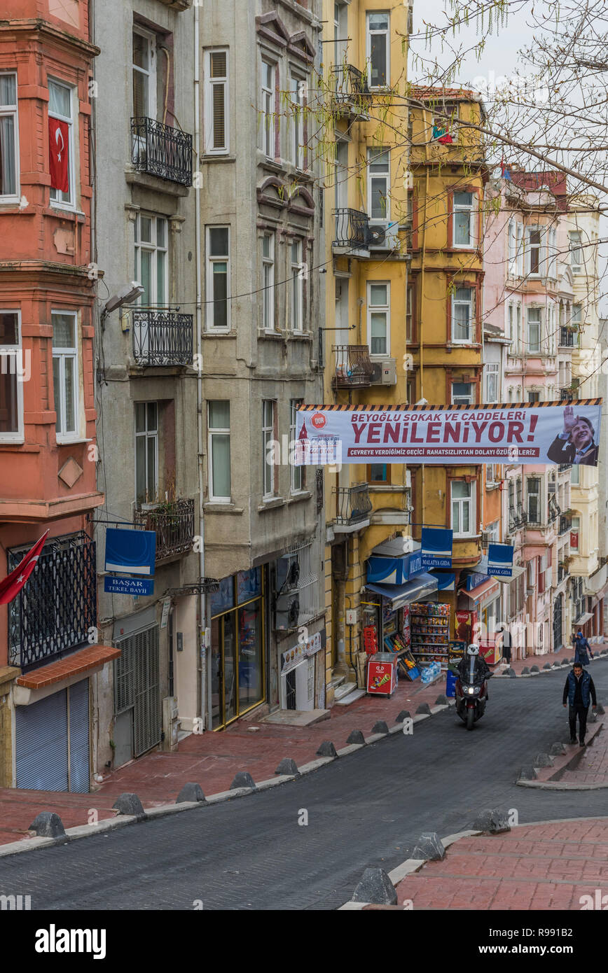 Istanbul, Turkey - even if almost unknown among the tourists, the Tarlabasi district is one of the most typical and colorful areas of Istanbul - Stock Image