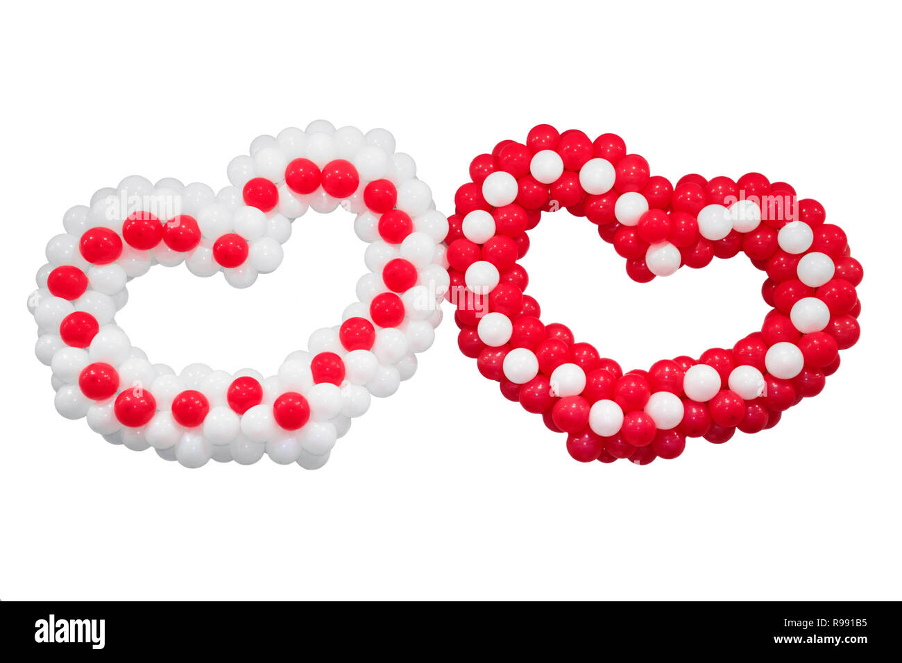 Two hearts Isolated on white background. Valentine's day and wedding concept. - Stock Image