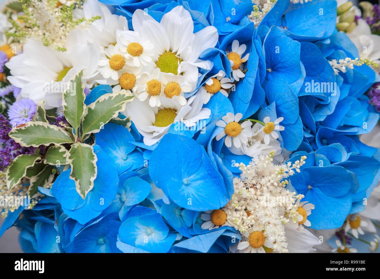Wedding Bouquet Of Wild Flowers Closeup Rustic Style Stock Photo Alamy