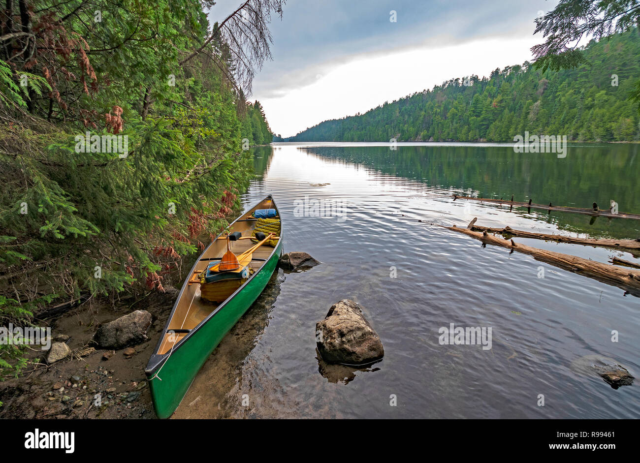 Dramatic Clouds on a Wilderness Portage on This Man Lake in Quetico Provincial Park in Ontario - Stock Image