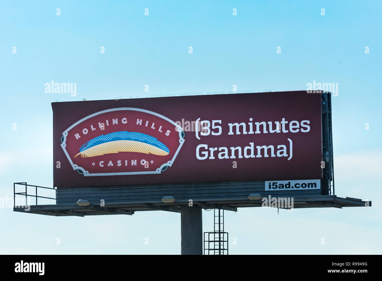 A whimsical sign for an Indian Casino along interstate 5 in Northern Calfornia - Stock Image