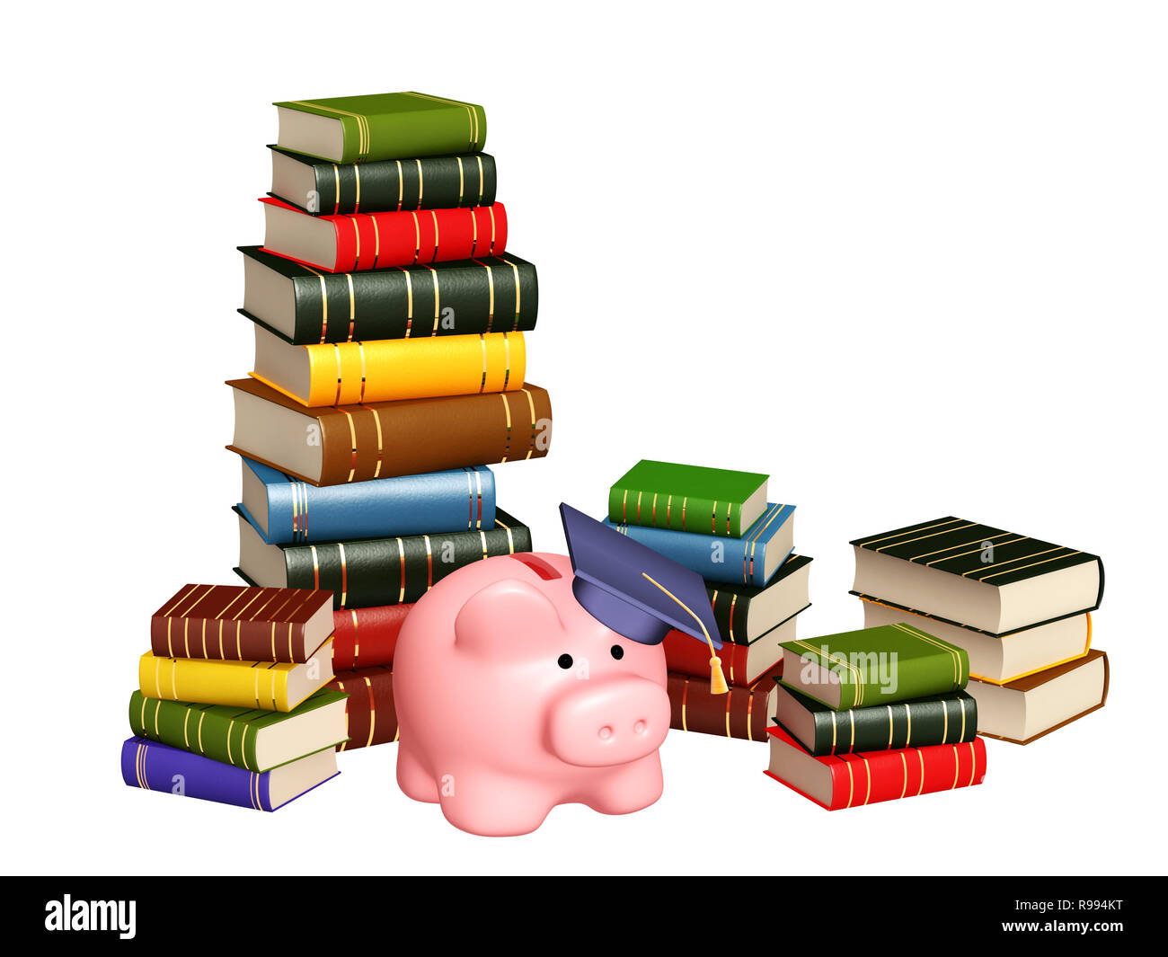 Piggy bank with cap and books. Objects isolated over white - Stock Image