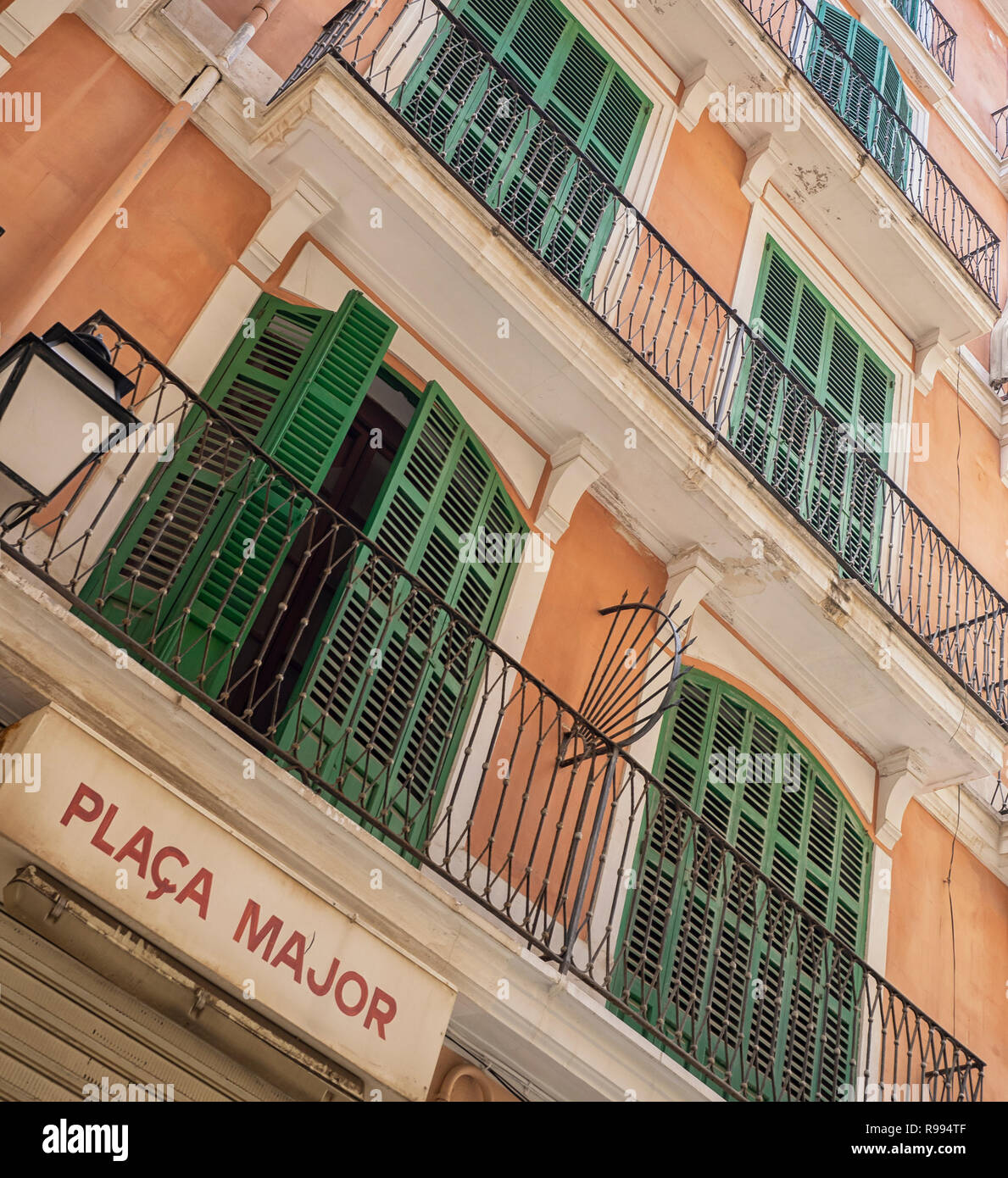 PALMA de MALLORCA:  Apartment building with shuttered windows in Placa Major in the Old Town - Stock Image