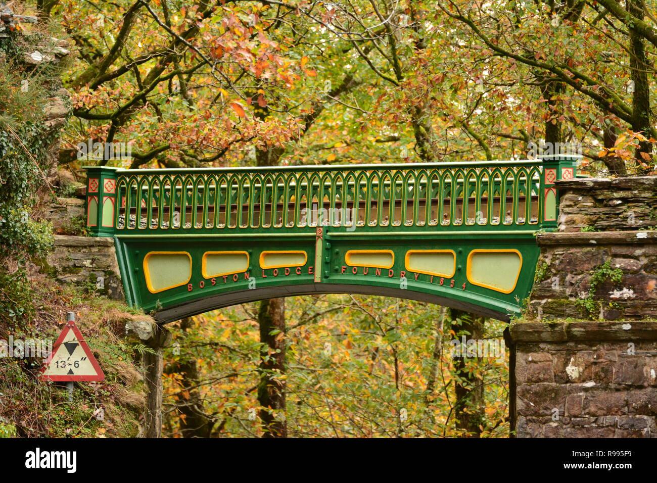 Painted Iron Railway Bridge, Tan-y-Bwlch Stock Photo