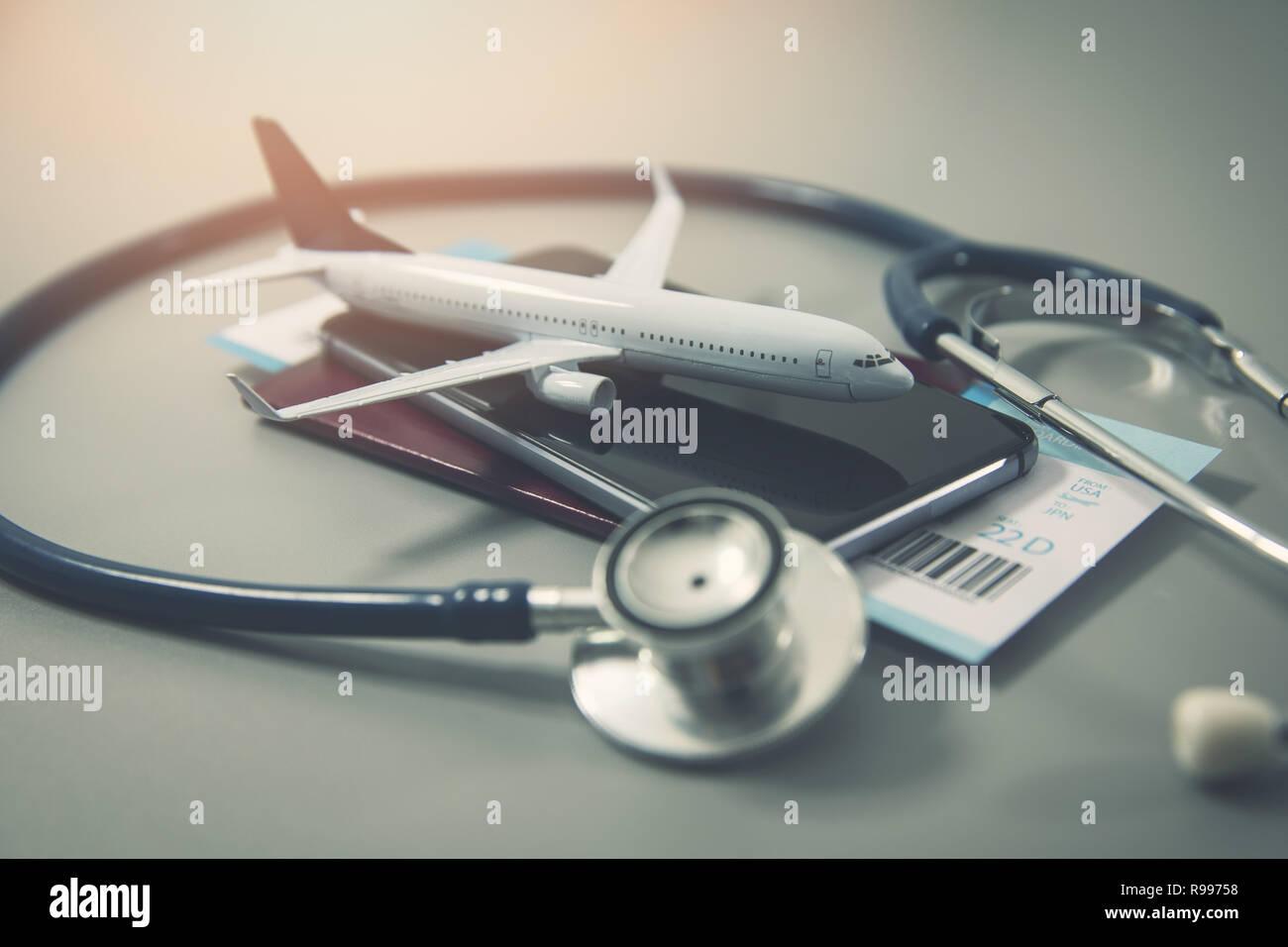 travel insurance safe trip concept - Stock Image