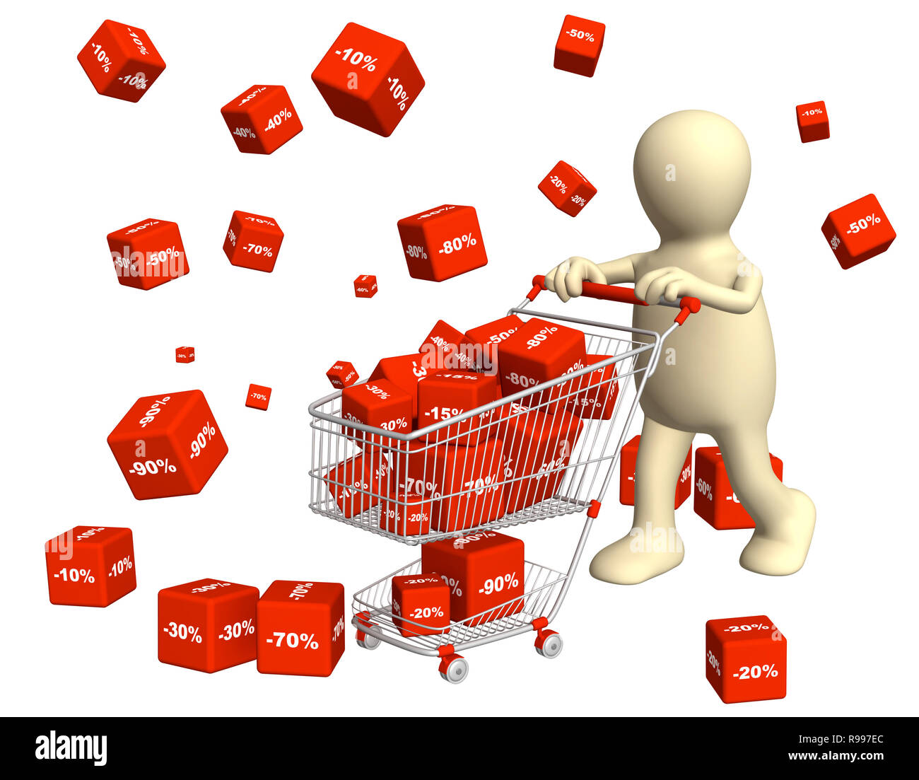 3d puppet, bought the goods at a discount. Isolated over white - Stock Image