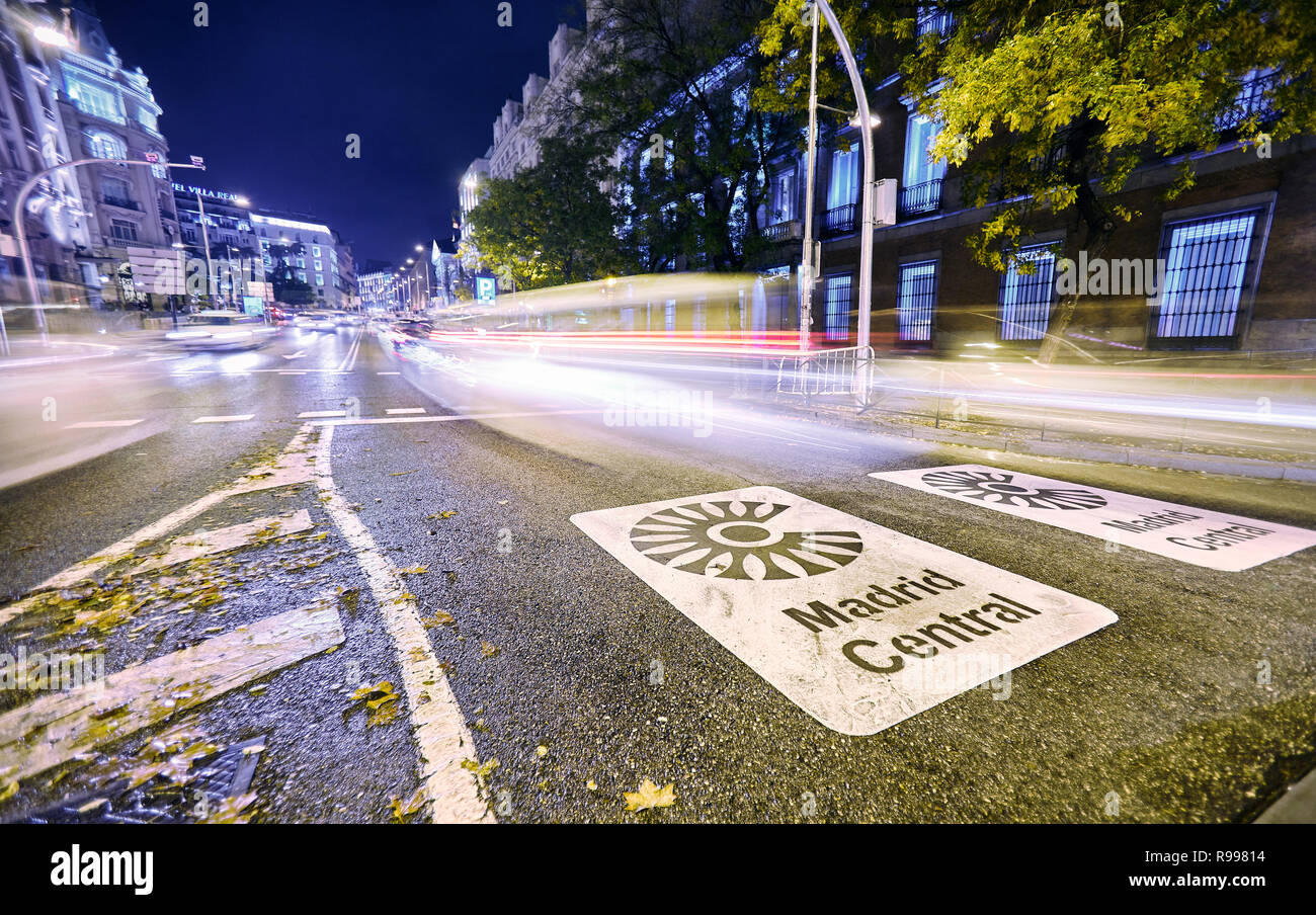 Madrid Central low-emissions zone sign at Plaza de las Cortes street. The antipollution measure introduces new restrictions on traffic in the heart of - Stock Image