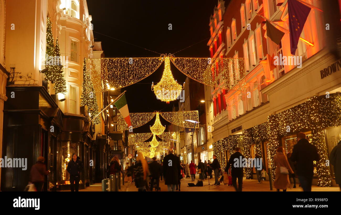 Christmas In Dublin Ireland.Grafton Street In Dublin Ireland At Christmas Time