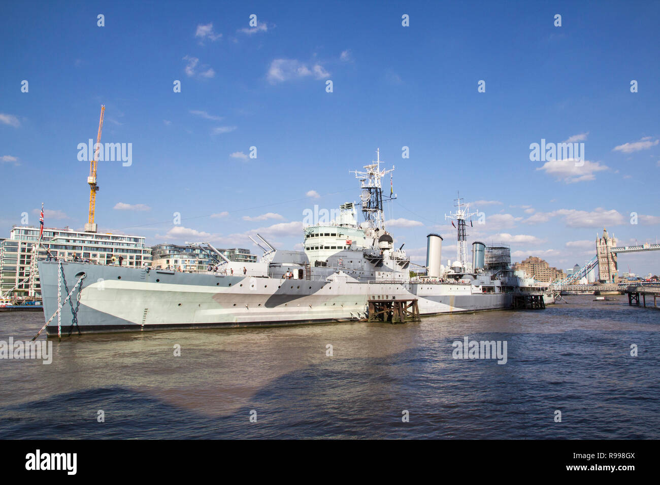 LONDON, UK - SEPTEMBER 1, 2018. London cityscape across the River Thames with a view of HMS Belfast Warship Museum and Tower of London. London, Englan - Stock Image