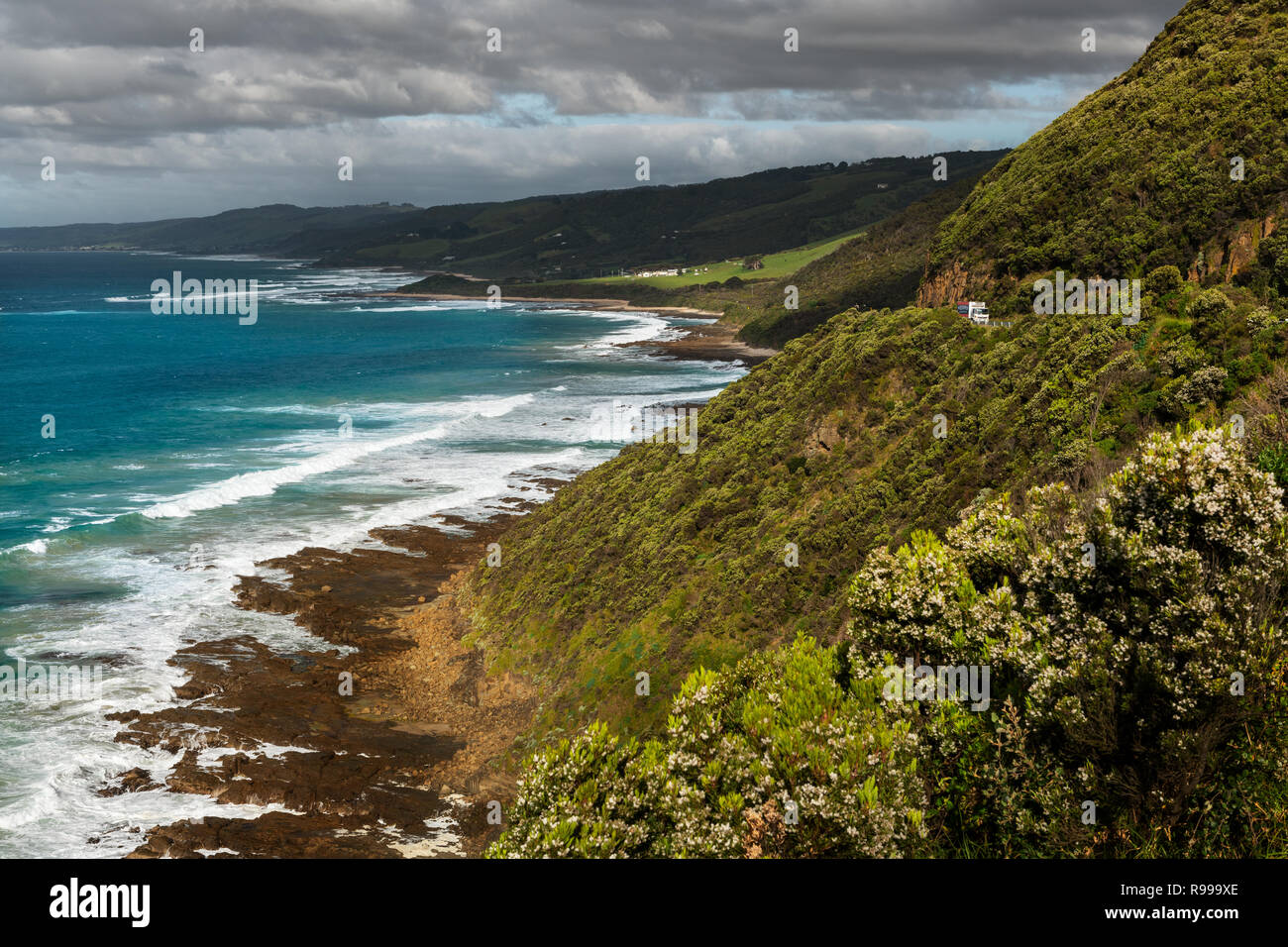 Scenery along the famous Great Ocean Road. - Stock Image