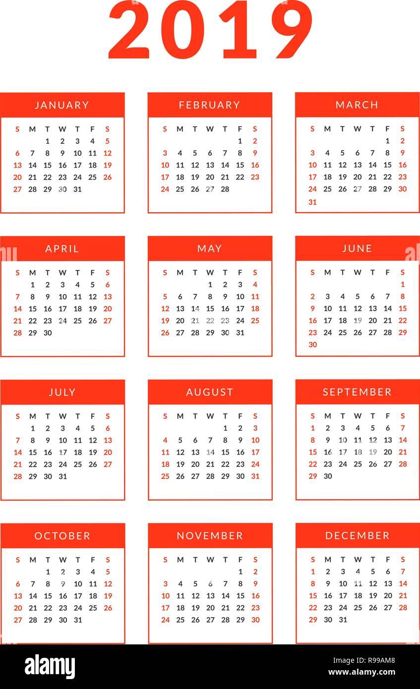 Calendar February 2019 Verticale Simple vertical 2019 calendar template for design. Starts on