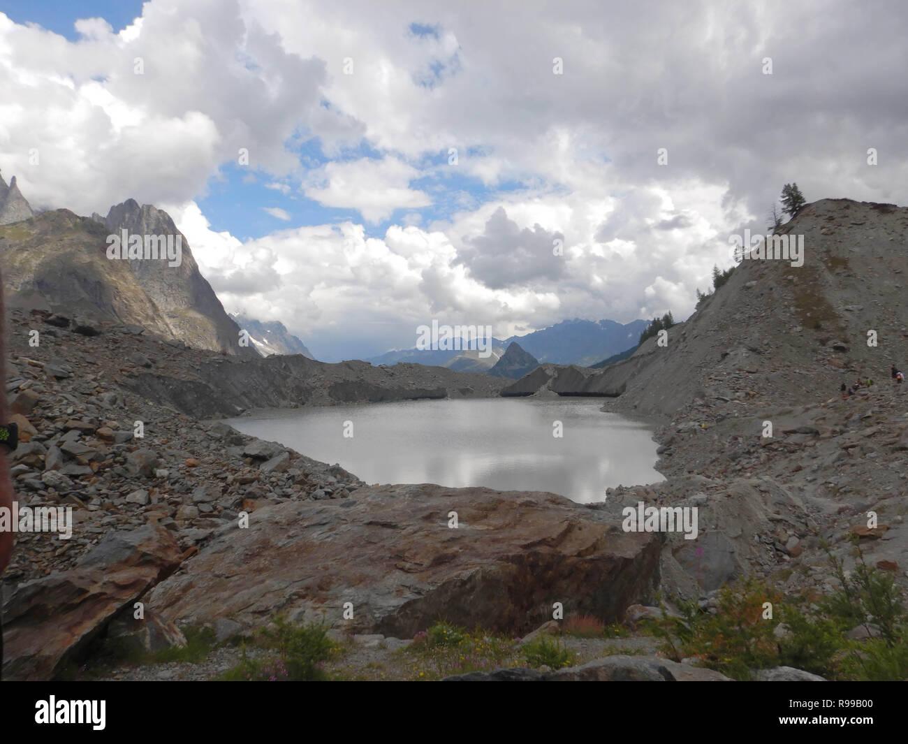 Veny Valley, Val d'Aosta - Italy. Lake Miage - Stock Image