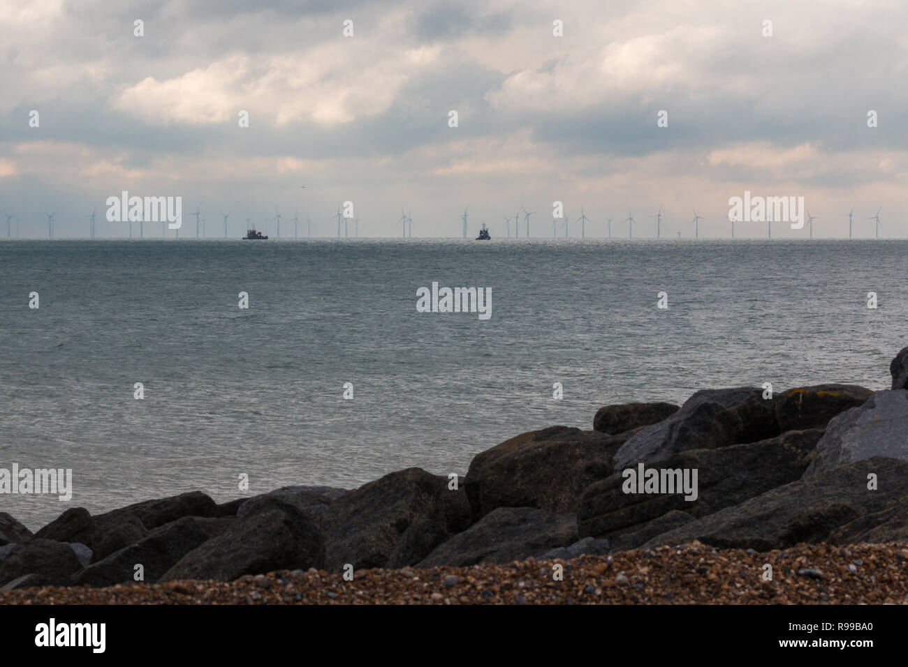 View from the beach of the Rampion Wind Farm, West Sussex - Stock Image