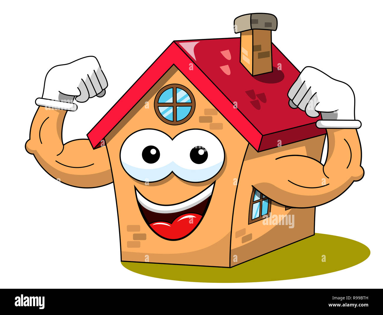 Happy House Cartoon Funny Character Biceps Show Muscle Health Isolated On White Stock Photo Alamy