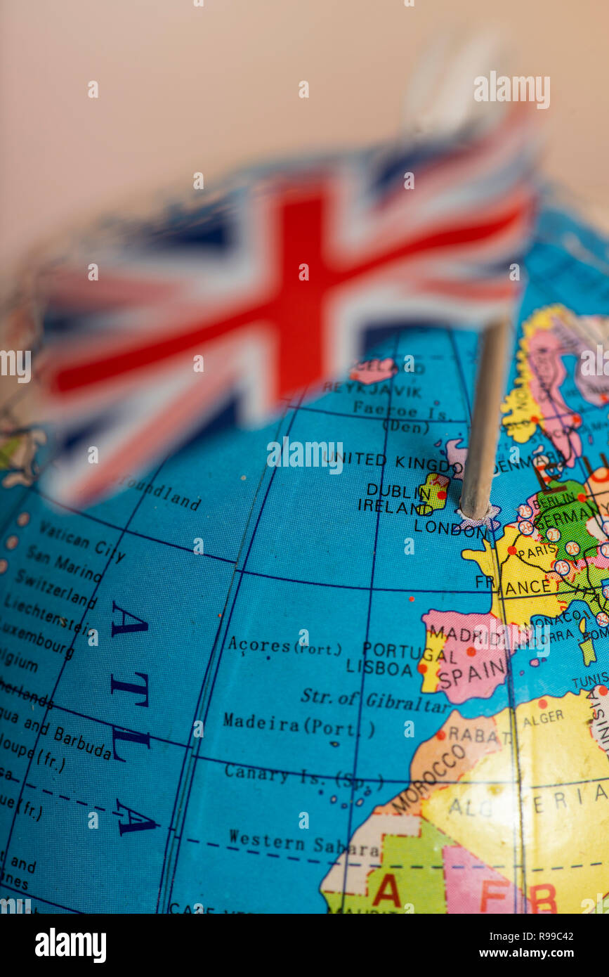 United Kingdom On The World Map.British Flag On The World Map Uk Flag Pricked On The Globe Points