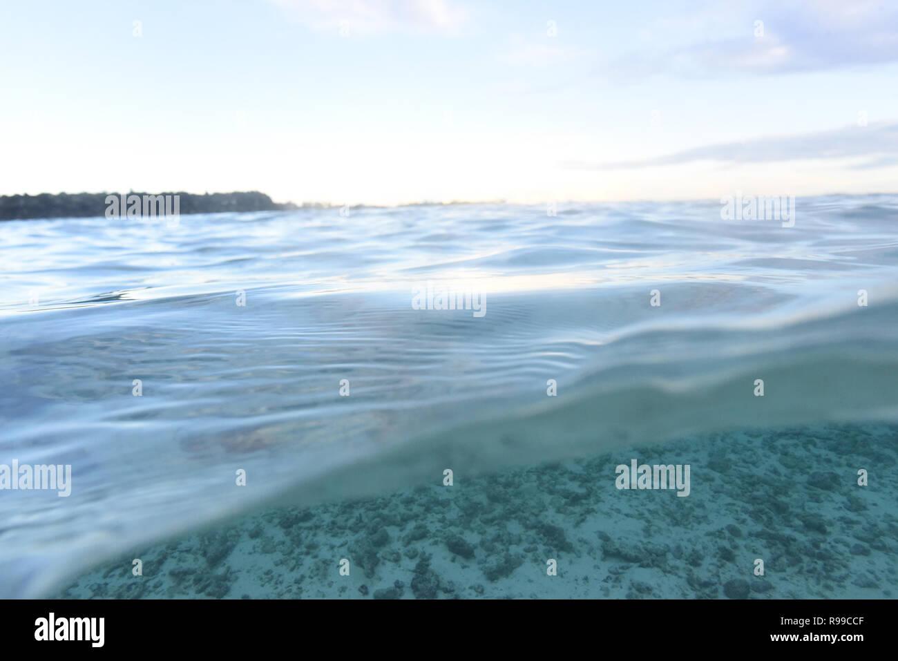 Split level photo in Maldives, reef - Stock Image