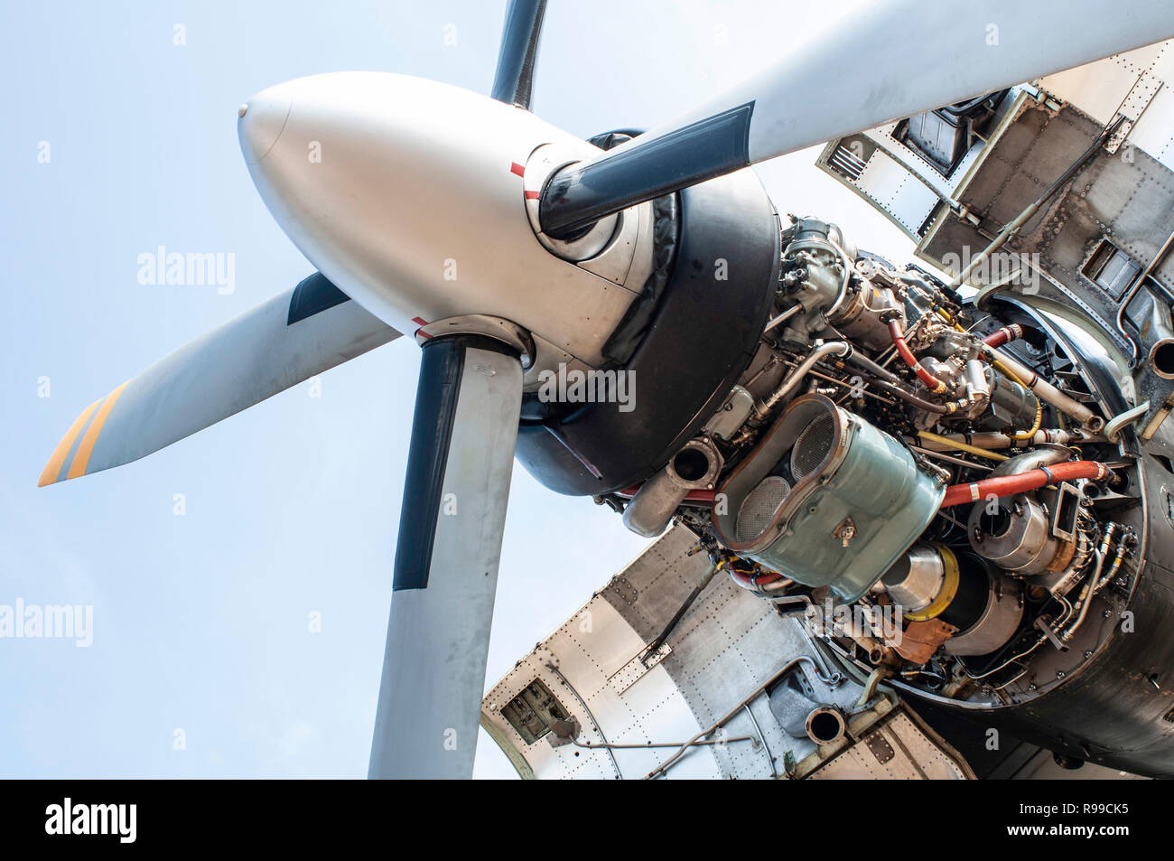 Engine and propeller of a military plane. Disassemble and repair engine of plane. Engine design of a military aircraft. - Stock Image