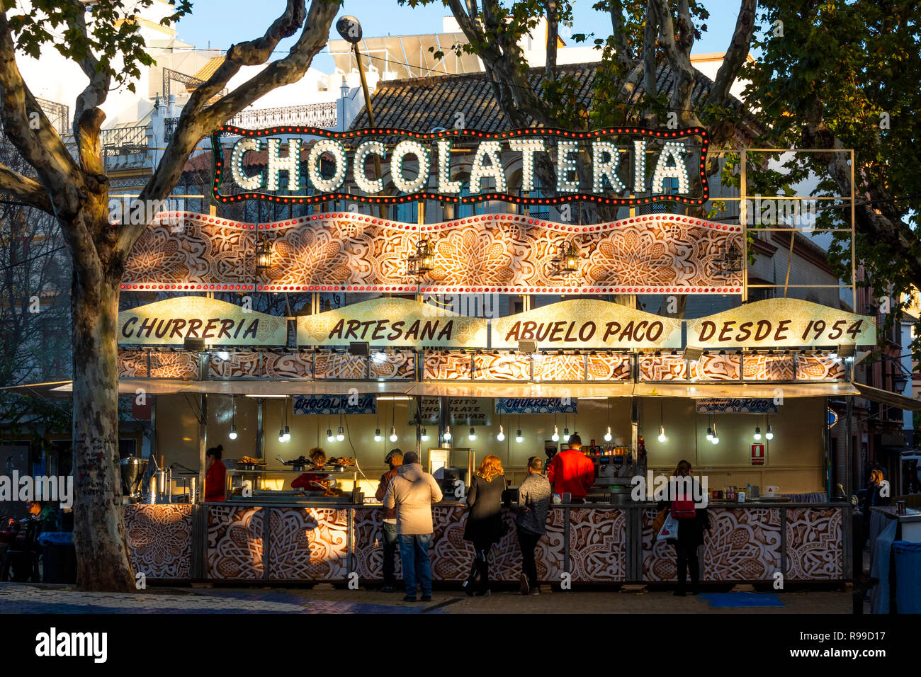 The Chocolateria food stand in the Alameda de Hercules in Seville, Spain - Stock Image