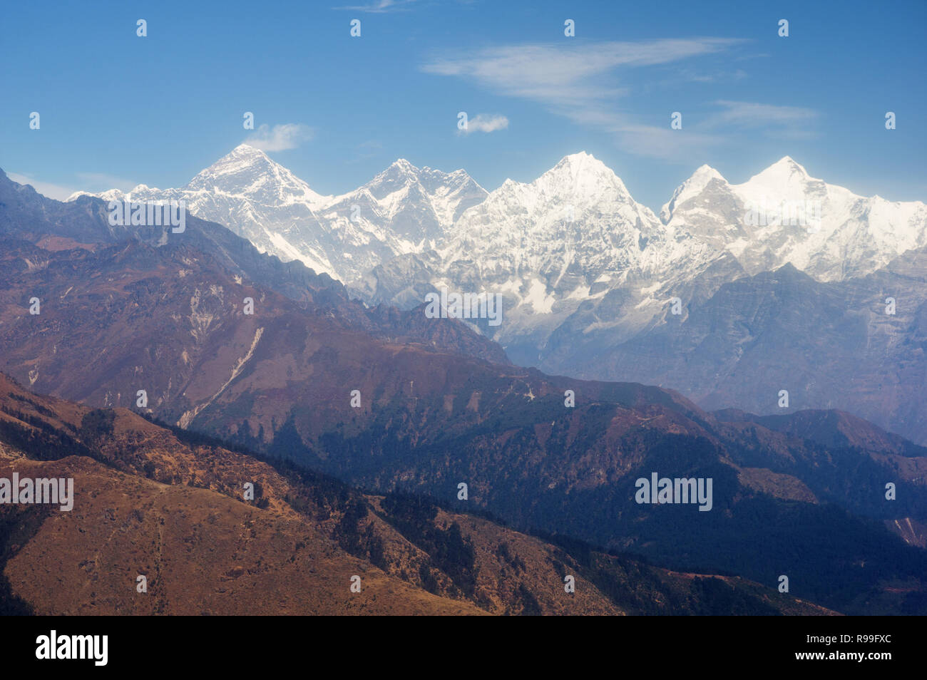 view of Everest and Himalayan other high peaks from a distance - Stock Image