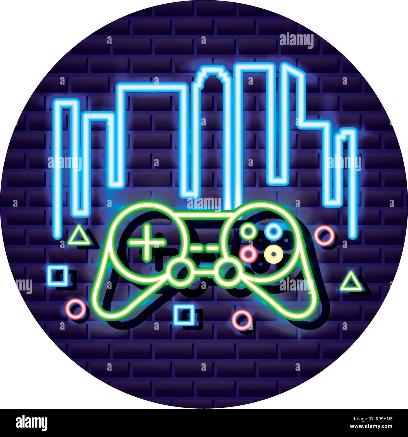 Controller Device Neon Video Game Vector Illustration Stock Vector Image Art Alamy