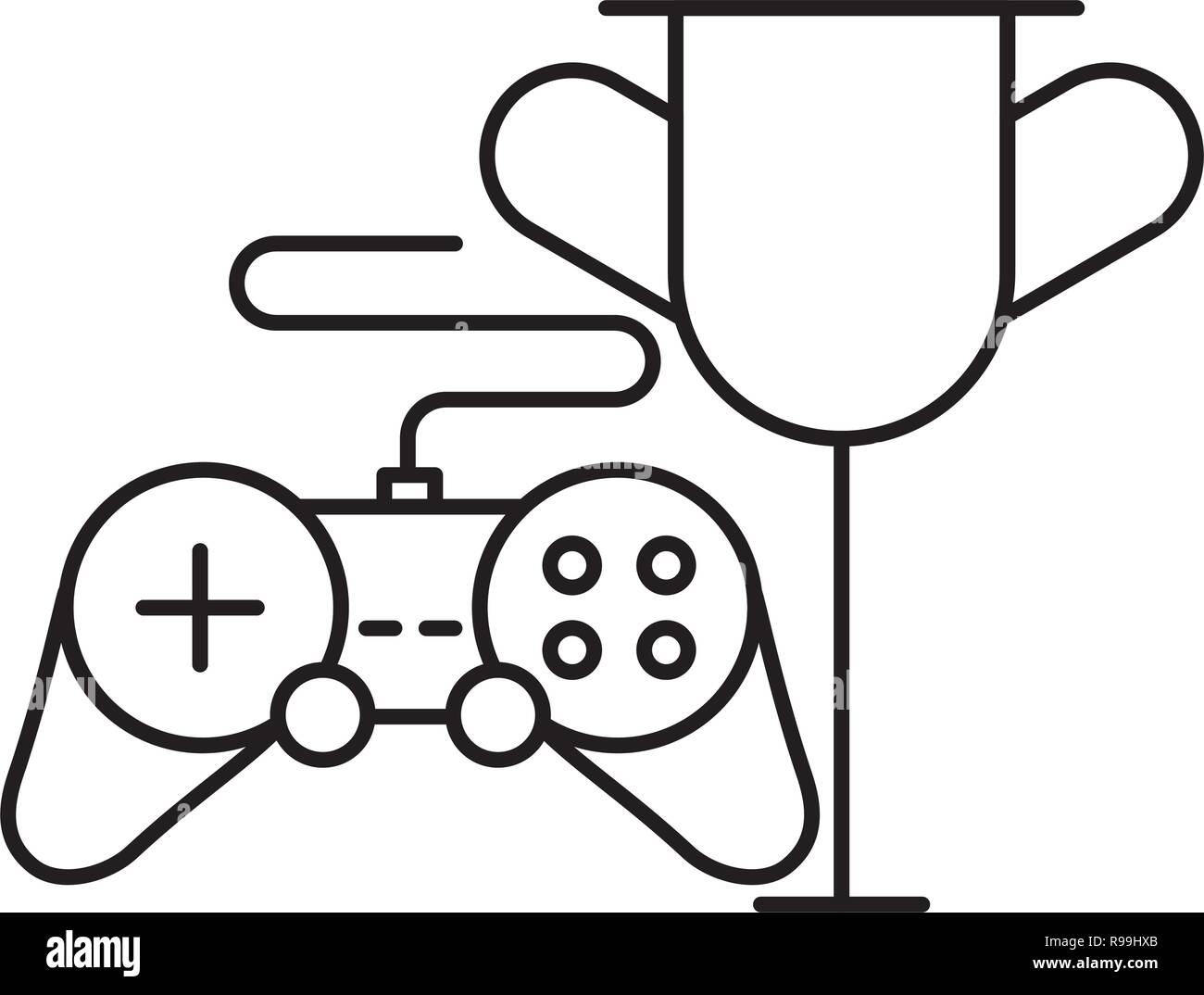 trophy and controller on white background vector illustration - Stock Image