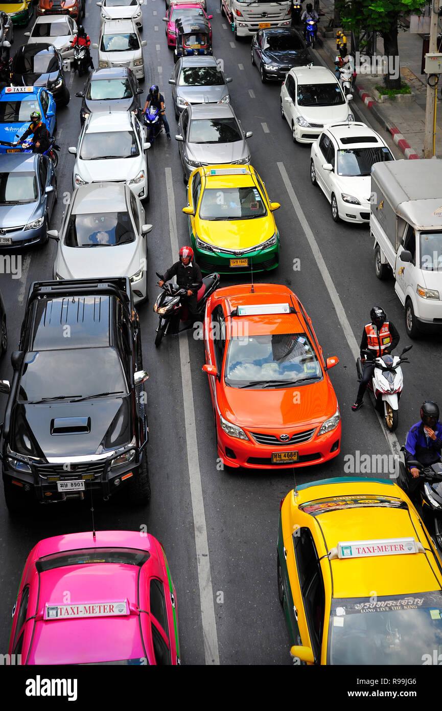 Traffic congestion Bangkok Thailand - Stock Image