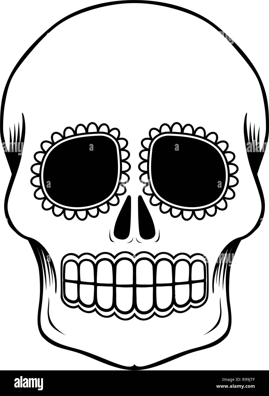 e379884583797 empty mexican sugar skull isolated on white, can be used for coloring book,  day