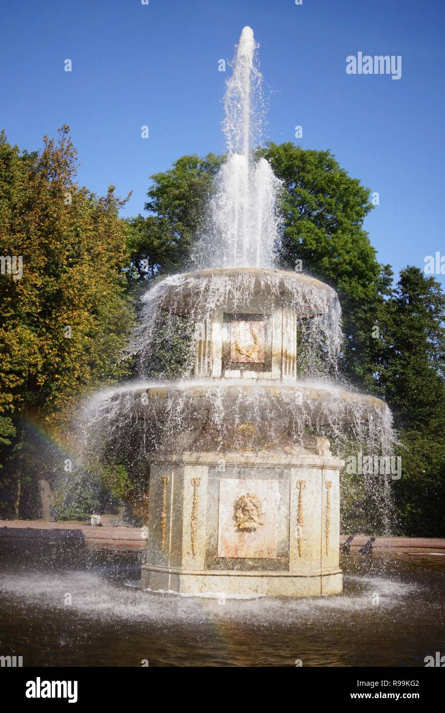 Peterhof Palace gardens and fountains in St Petersburg Stock Photo