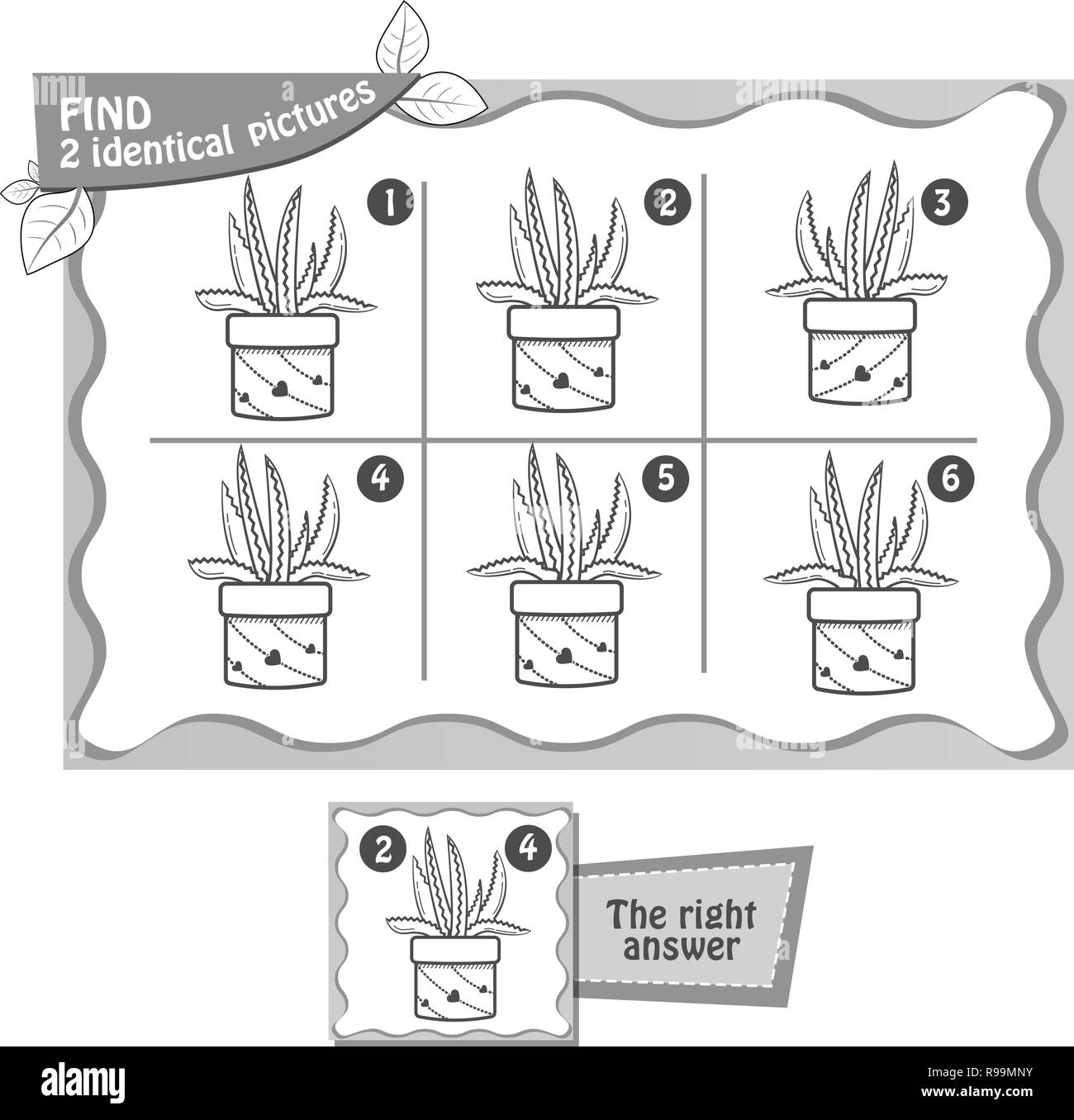 visual game for children and adults. Task  game fnd 2 identical  pictures. black and white illustration - Stock Vector