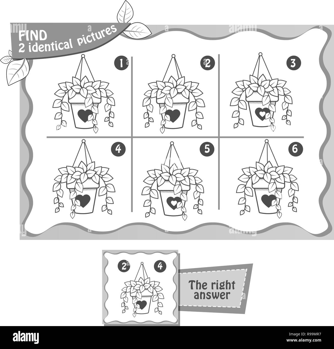 Task Game Fnd 2 Identical Pictures Black And White Illustration
