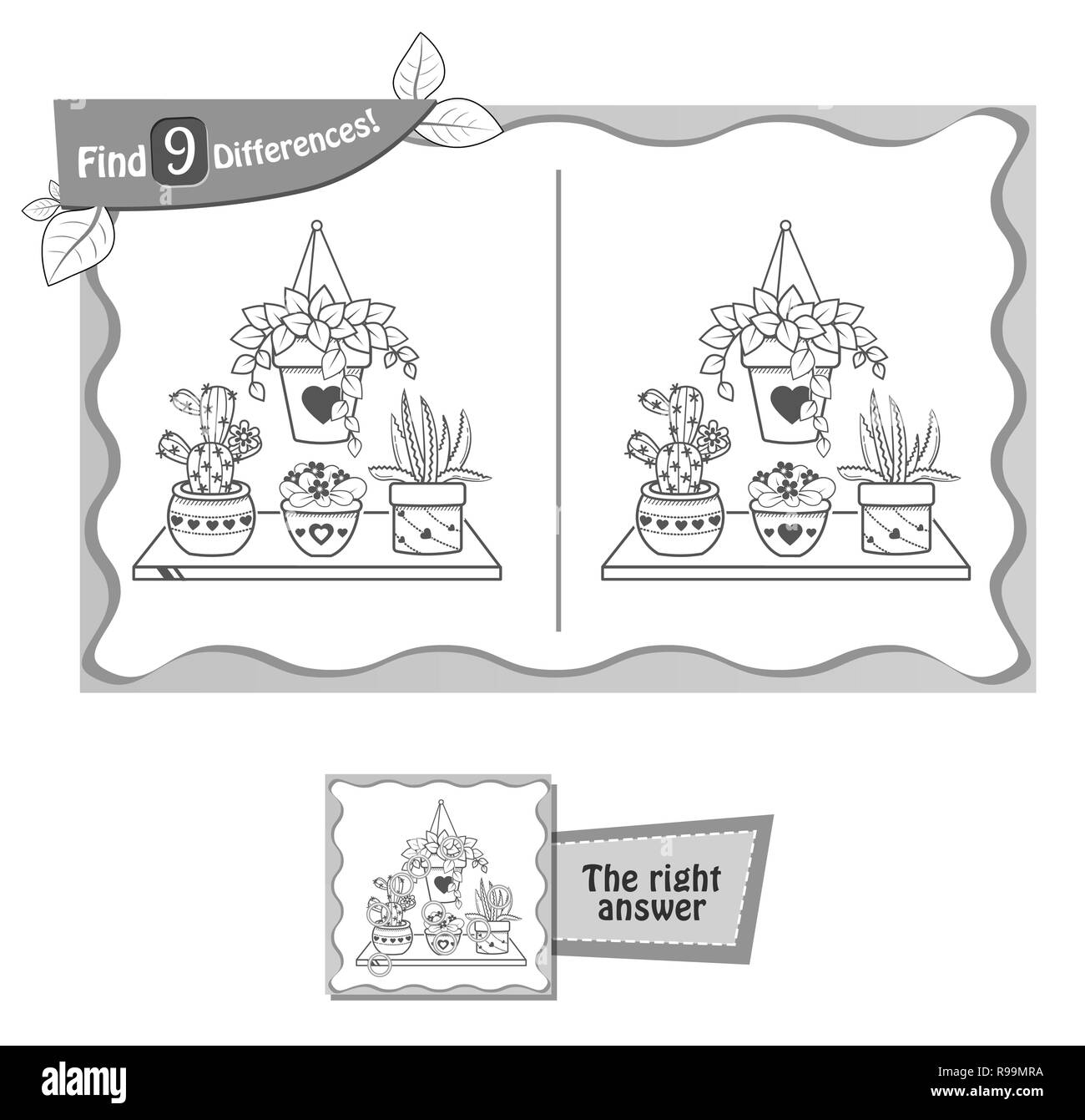 visual game for children and adults. Task to find 9 differences in the illustration on the school board. black and white vector illustration - Stock Vector