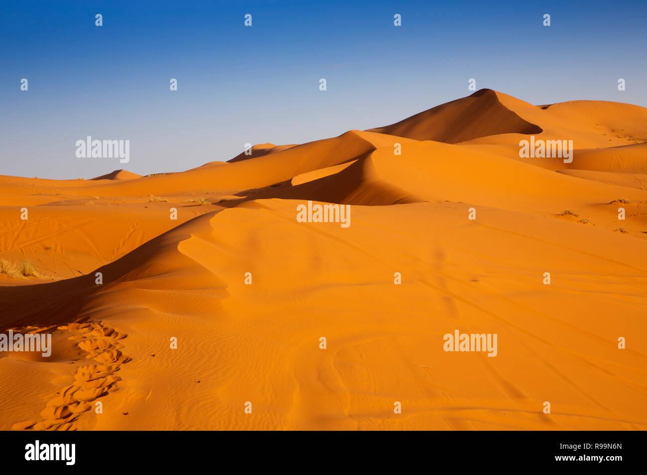 Morocco, Errachidia Province, Erg Chebbi, sand dunes at sunset Stock Photo