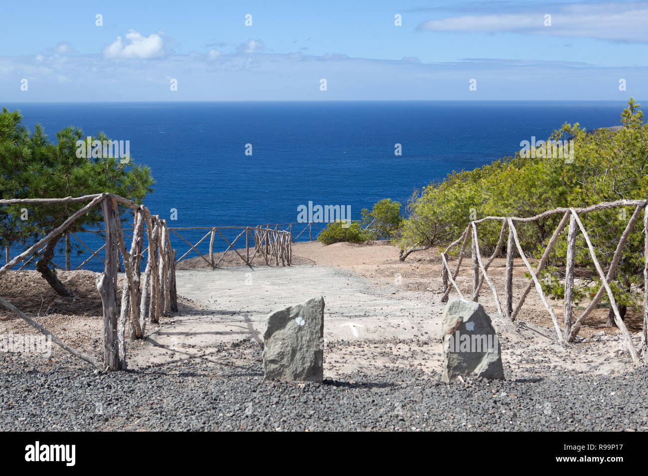 A path to the sea on the island of Porto Santo - Stock Image