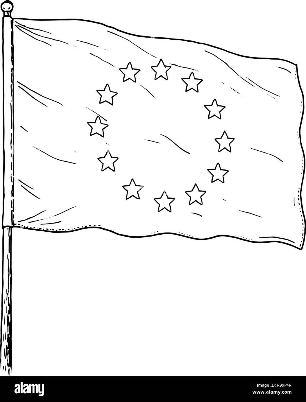 European Union flag drawing - vintage like illustration of flag of EU. Monochromatic banner contour on white background. - Stock Image
