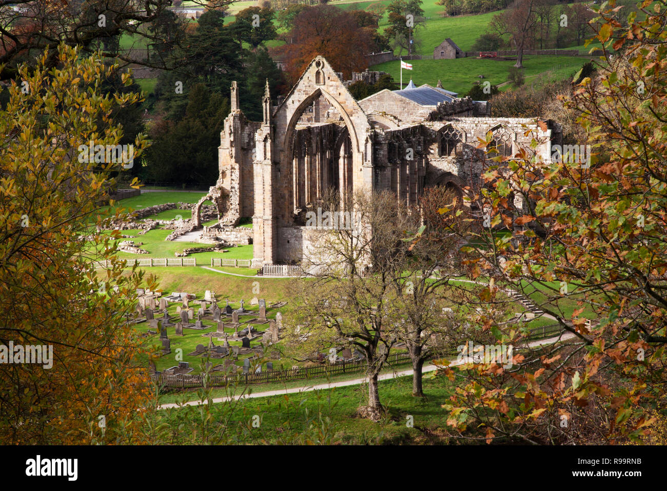 Bolton Abbey, Priory Ruins in Autumn, North Yorkshire Dales - Stock Image
