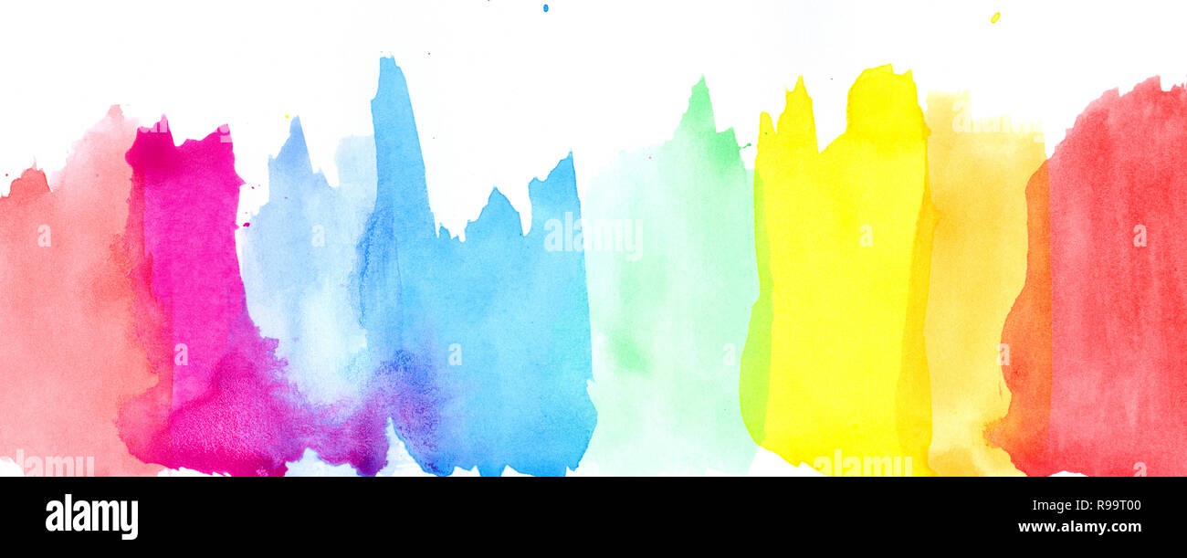 Colored Splashes In Abstract Shape Rainbow Painting Background Banner And Header Stock Photo Alamy