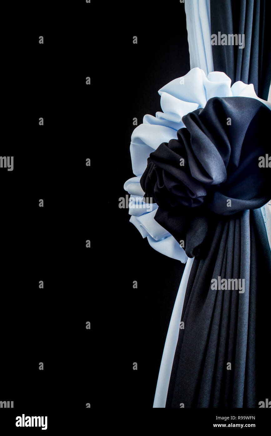 White and black silk up to express their grief - Stock Image