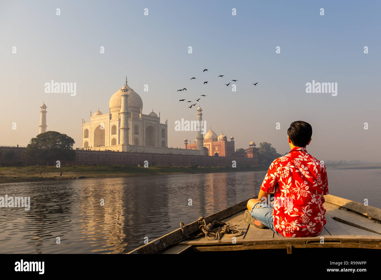 Man watching sunset over Taj Mahal from a wooden boat with bird flying over. Stock Photo