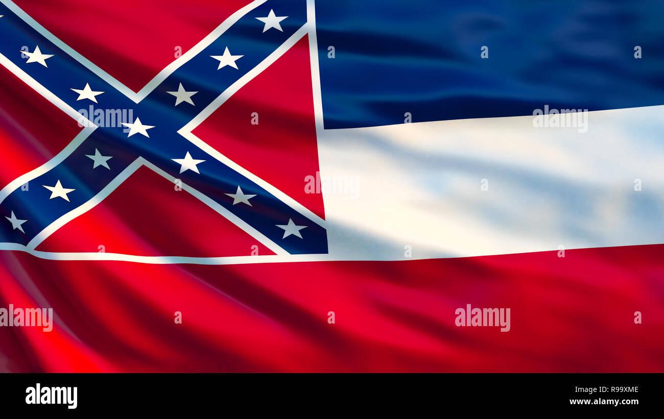 Mississipi flag. Waving flag of Mississipi state, United States of America. 3d illustration - Stock Image