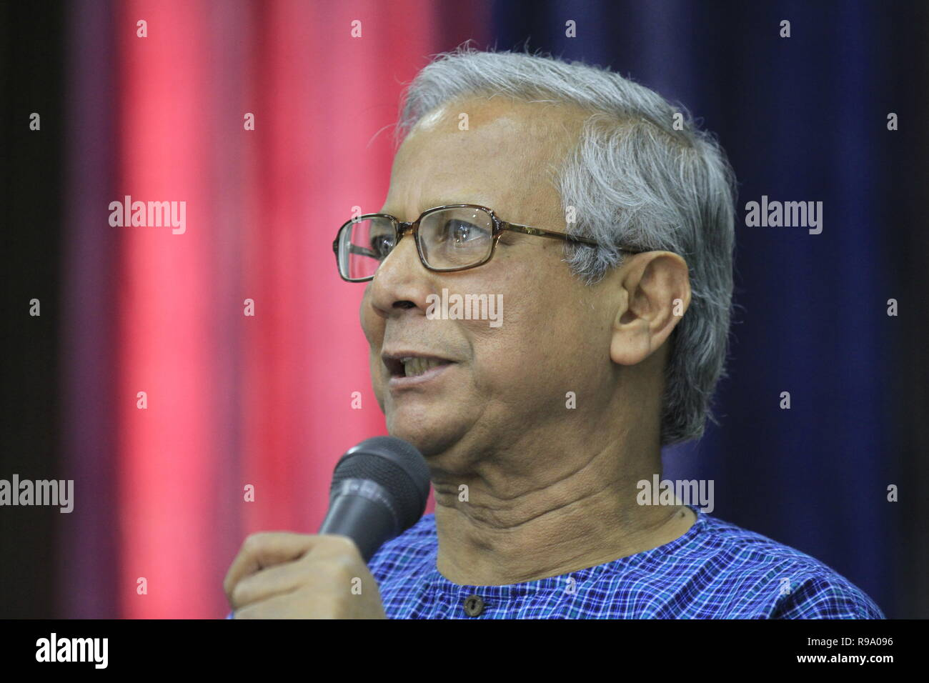 Portrait of Nobel Prize Laureate Professor Muhammad Yunus, who won the Nobel Peace Prize in 2006. Yunus founded the Grameen Bank, known as the 'Bank o Stock Photo