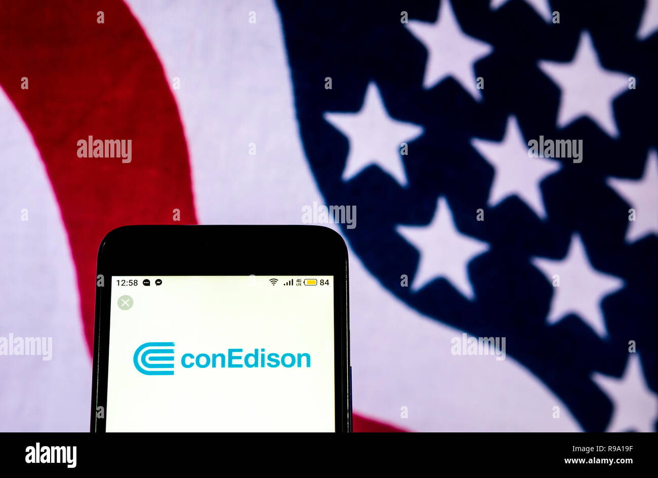 Consolidated Edison Energy company logo seen displayed on smart phone - Stock Image