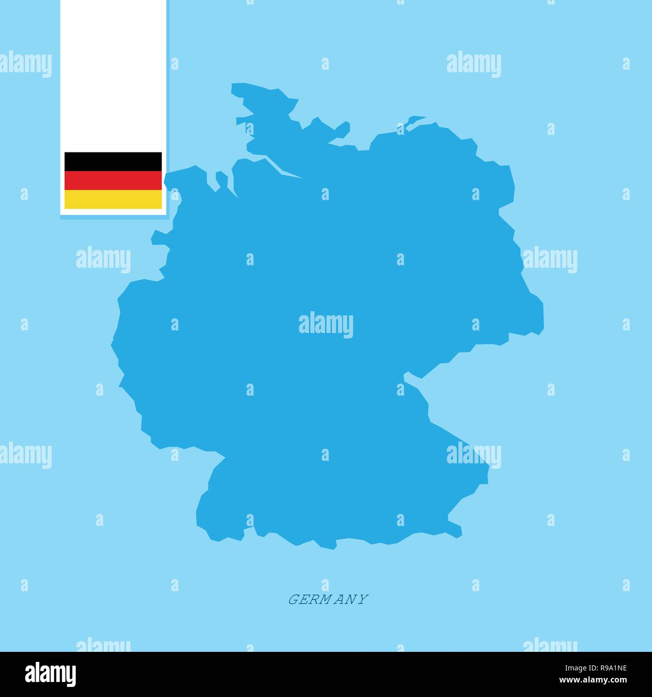 Map Of Germany Over The Years.Germany Country Map With Flag Over Blue Background Stock Vector Art