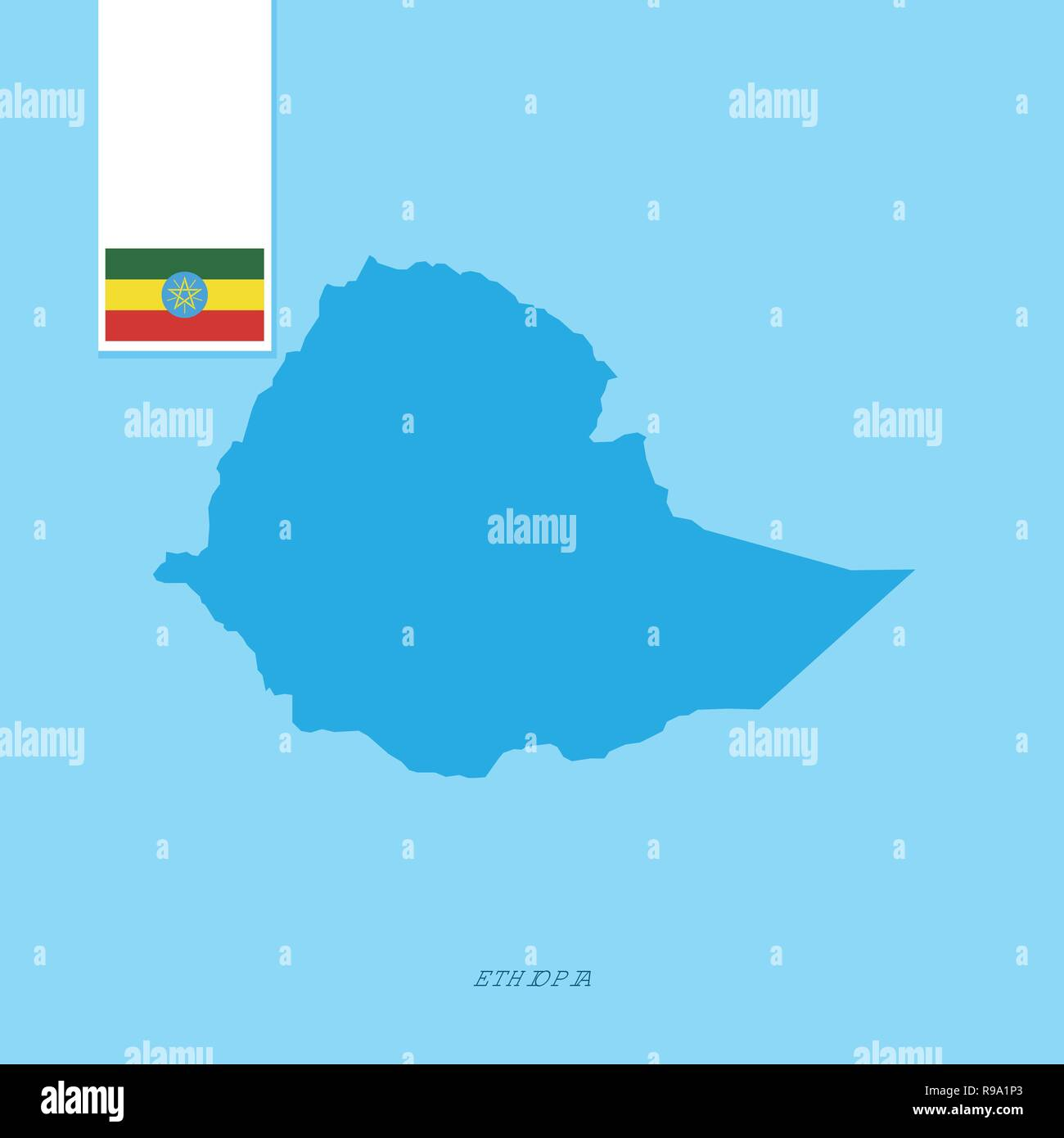 Ethiopia Country Map with Flag over Blue background - Stock Vector