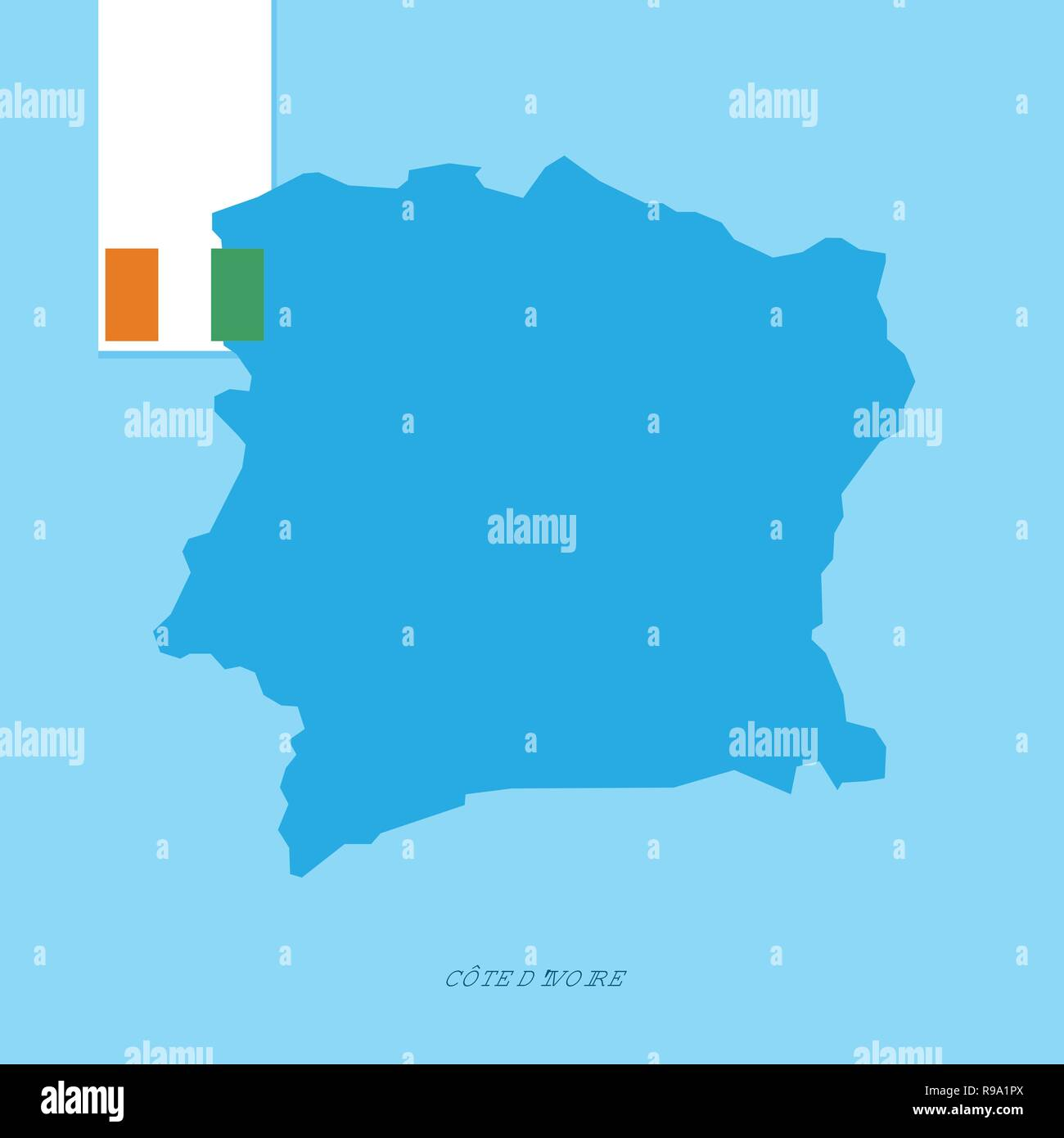 Cote d Ivoire / Ivory Coast Country Map with Flag over Blue background - Stock Vector