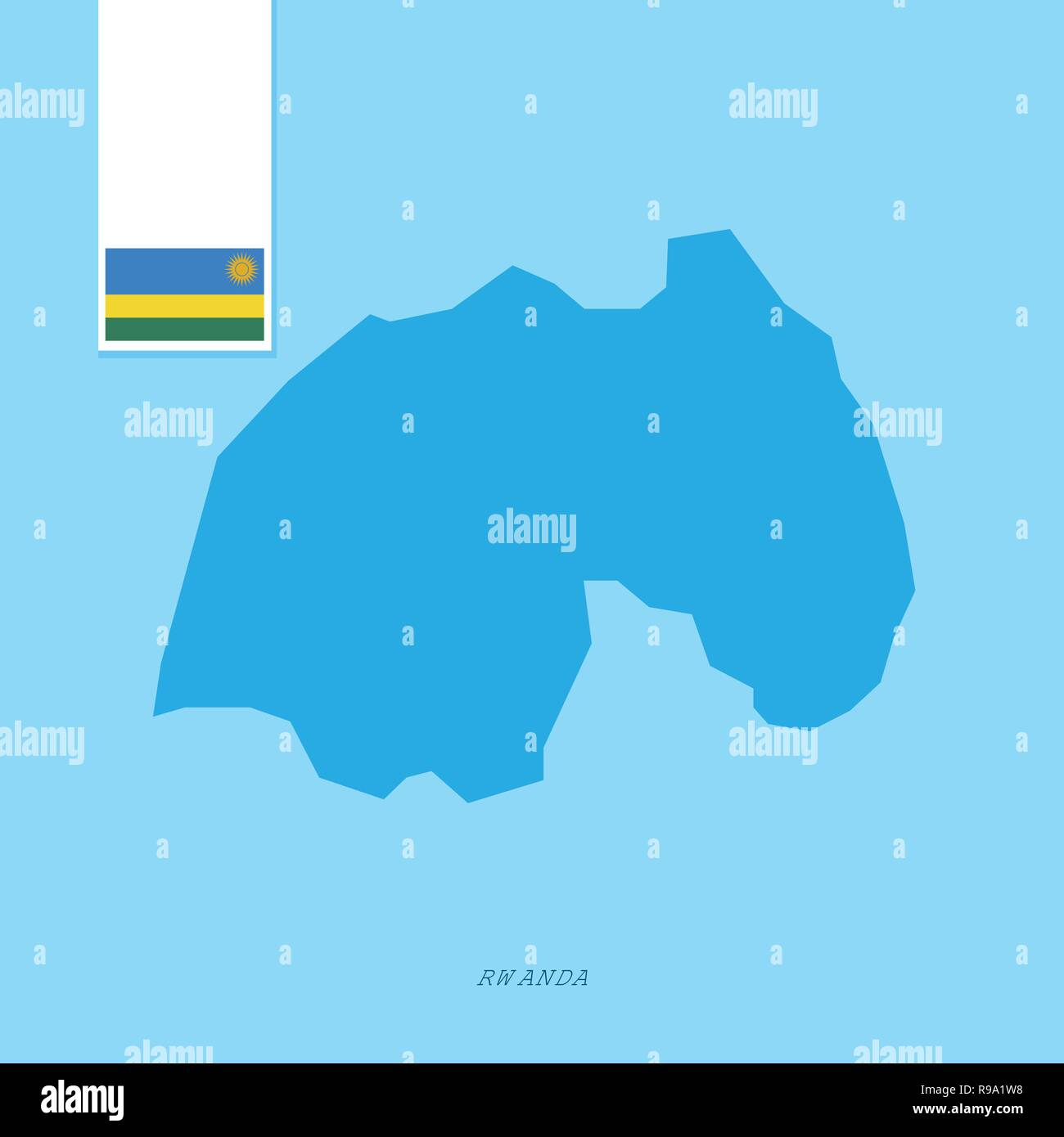 Rwanda Country Map with Flag over Blue background - Stock Vector