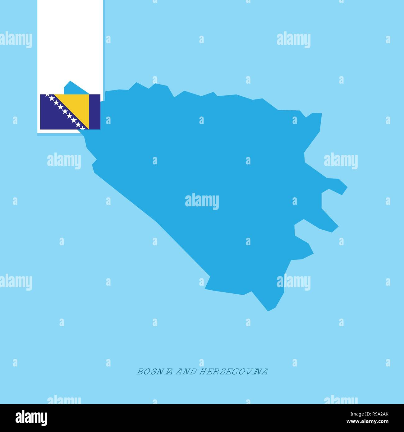 Bosnia and Herzegovina Country Map with Flag over Blue background - Stock Vector