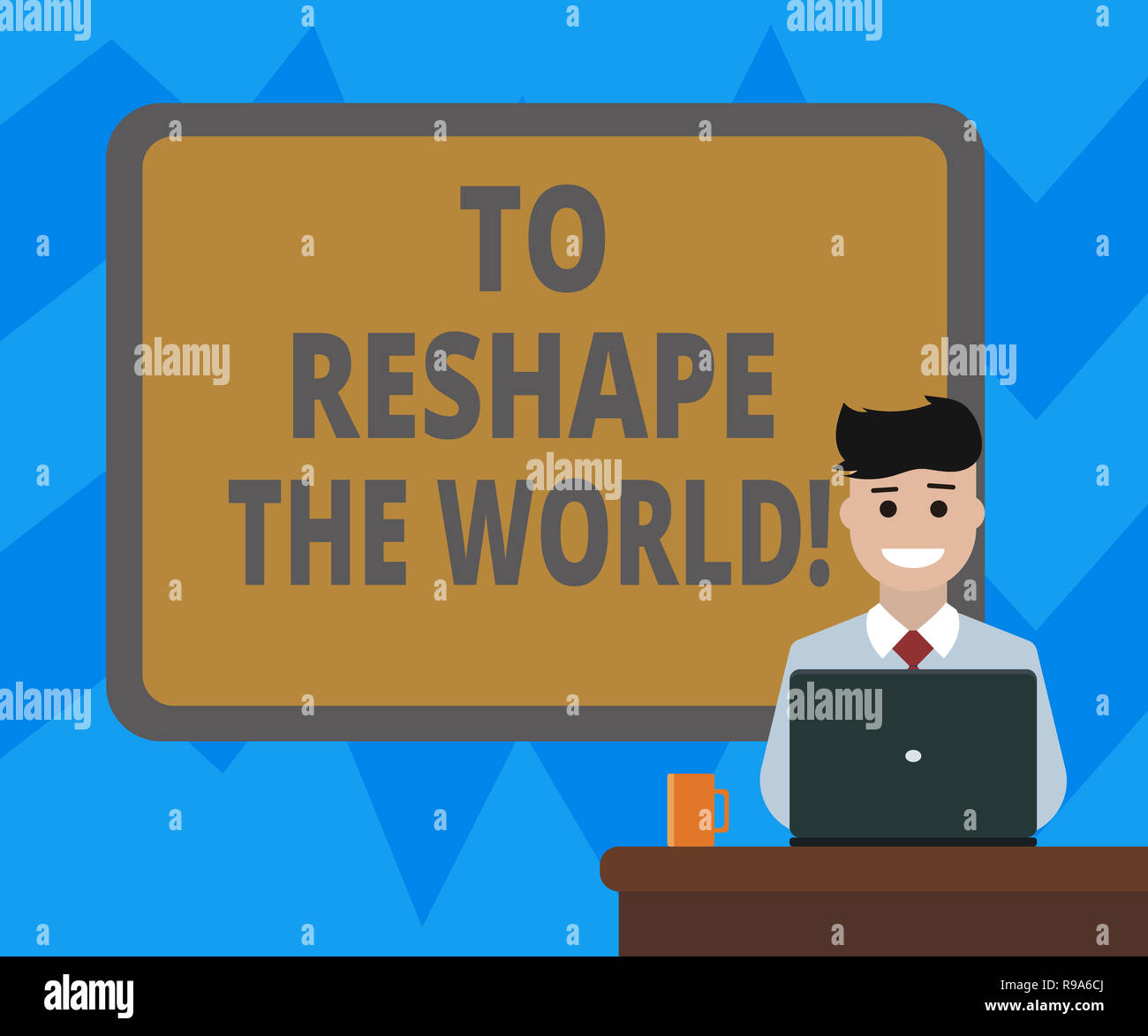 Text sign showing To Reshape The World  Conceptual photo Give the