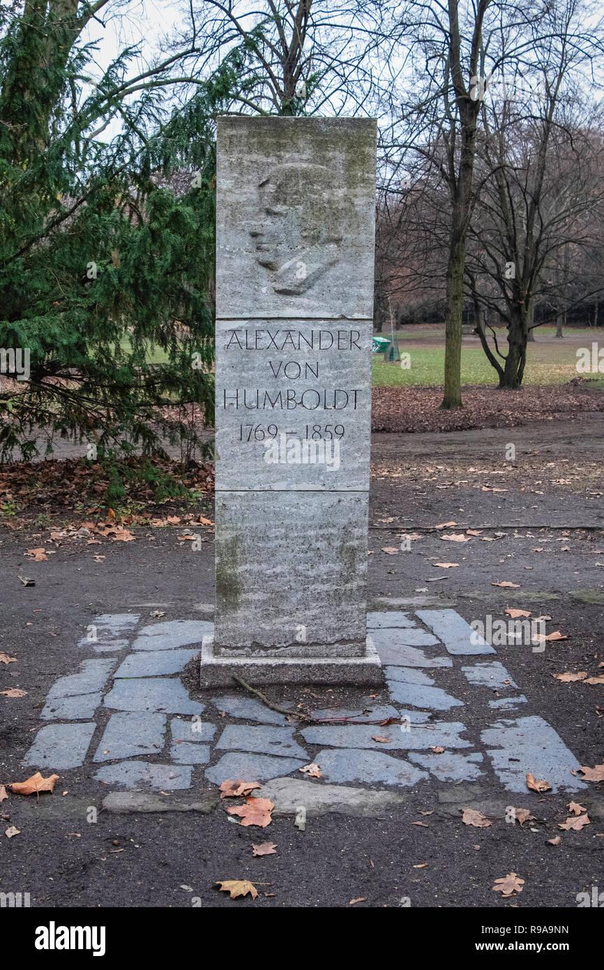 Berlin Volkspark Humboldthain public park, Alexander von Humbodlt monument, memorial stone - Stock Image